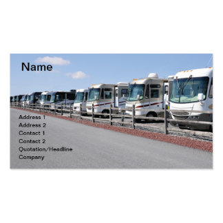 row of new recreational vehicles pack of standard business cards