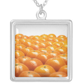 Row of oranges silver plated necklace