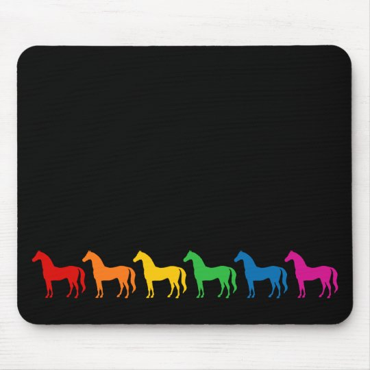 Row of Rainbow Colour Horses Mouse Mat