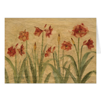 Row of Red Amaryllis Card