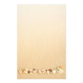 Row of Seashells on Beach sand Customised Stationery