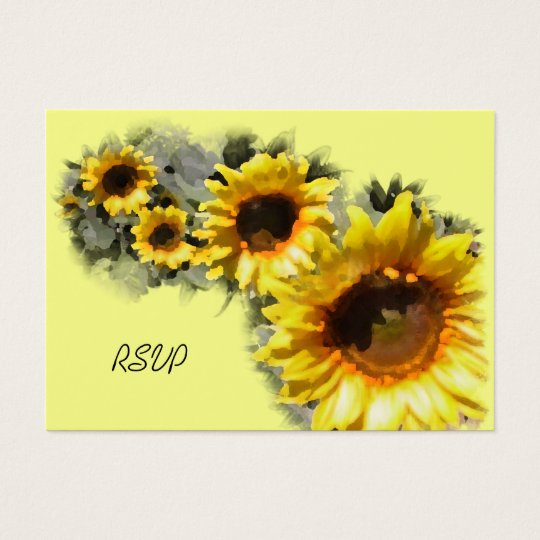 Row of Sunflowers Wedding RSVP Response Card