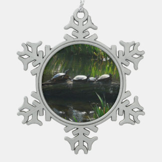 Row of Turtles Green Nature Photo Snowflake Pewter Christmas Ornament