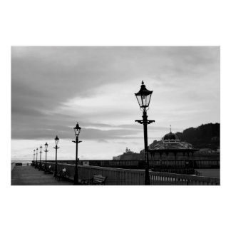 row of vintage lamps in black and white poster