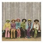 Row of Vintage Western Cowgirls poster