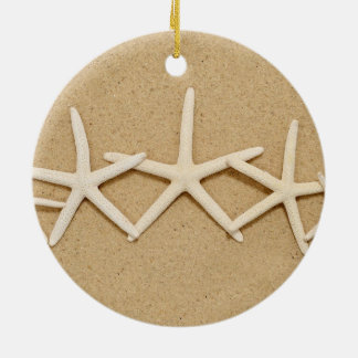 Row of White Starfish Christmas Ornament