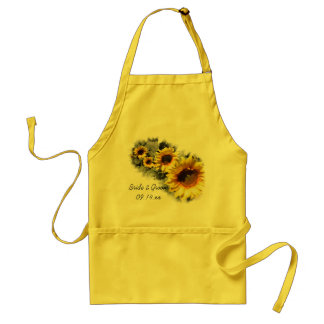 Row of Yellow Sunflowers Garden Wedding Standard Apron