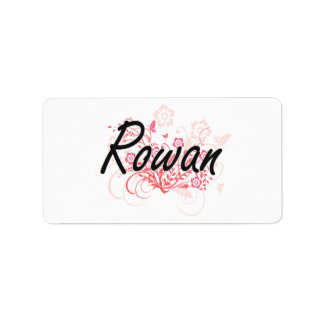 Rowan Artistic Name Design with Flowers Address Label