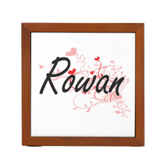 Rowan Artistic Name Design with Hearts Desk Organisers