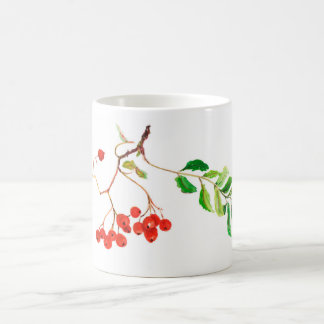 Rowan watercolor botanical painting mug. coffee mug