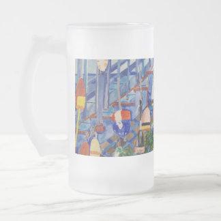 Rowboat And Buoys Frosted Glass Mug