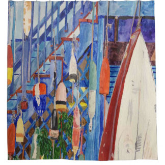 Rowboat And Buoys Shower Curtain