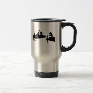 Rowboat and Dock Silhouette Stainless Steel Travel Mug