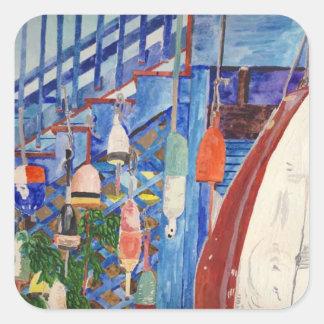 Rowboat & Buoys Square Sticker