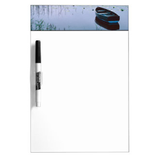 Rowboat on small lake surrounded by water dry erase board