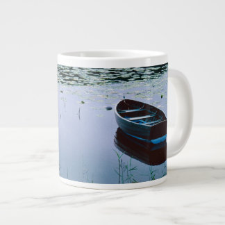 Rowboat on small lake surrounded by water 20 oz large ceramic coffee mug