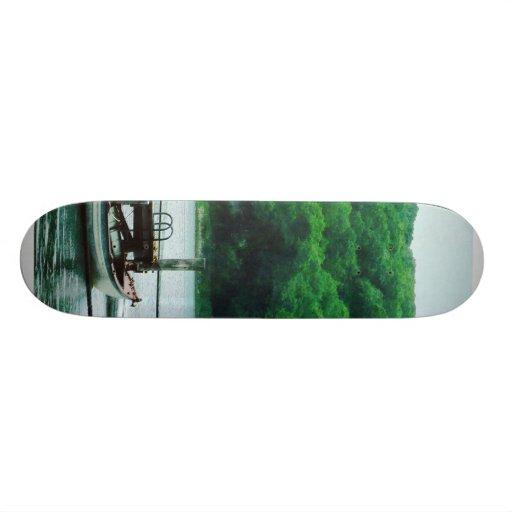 Rowboat Tied To Dock Custom Skateboard