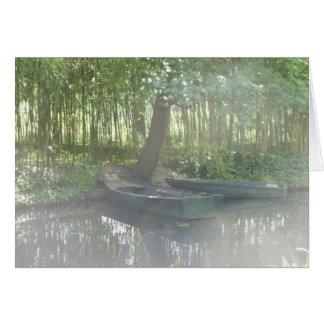 Rowboats at Monet's Garden, France Card