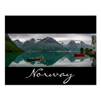Rowboats with reflection in Norway black text card Postcard