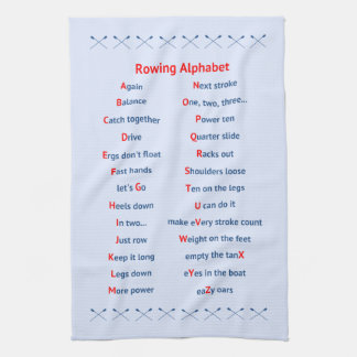 Rowing alphabet pale blue tea towel