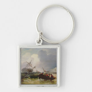 Rowing Boat Going to the Aid of a Man-o'-War in a Keychains