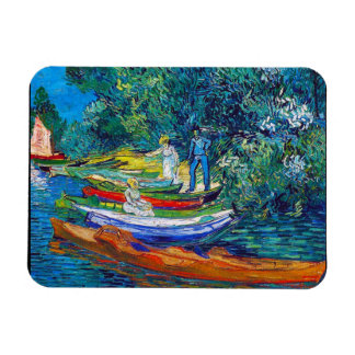 Rowing Boats on the Banks of the Oise Rectangular Photo Magnet