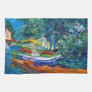 Rowing Boats on the Banks of the Oise Tea Towel