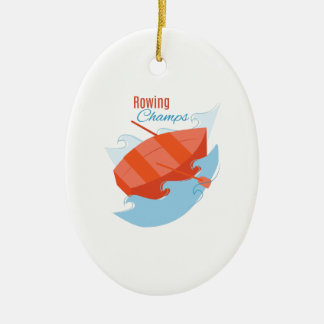 Rowing Champs Ceramic Oval Decoration
