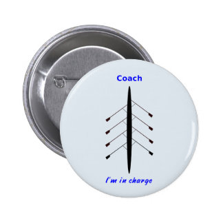 Rowing coach in charge 6 cm round badge