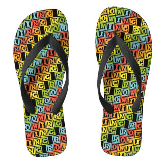 Rowing colourful lettering pattern flip flops