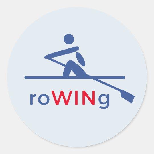 RoWINg motivational blue Round Sticker