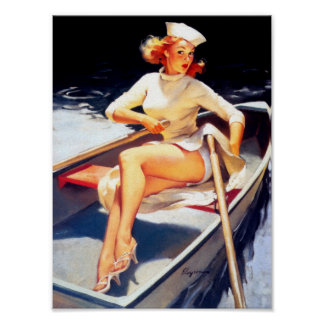 Rowing Pin Up Poster