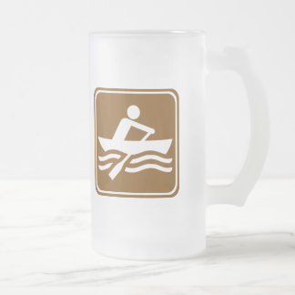 Rowing Recreational Highway Sign Frosted Glass Mug