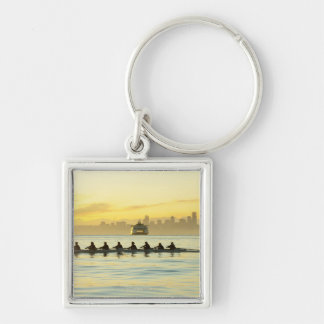 Rowing Team 2 Silver-Colored Square Key Ring