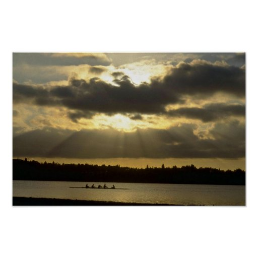 Rowing Workout Before Sun Sets Poster