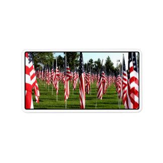 Rows of American Flags 9/11 Memorial - Corner Address Label