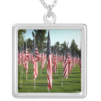 Rows of American Flags 9 11 Memorial - Corner Personalized Necklace