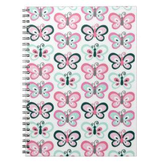 Rows of cute butterflies on spiral notebook