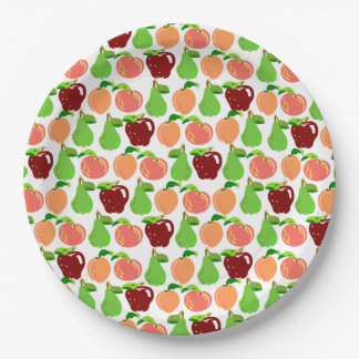 Rows of Fruits - Peaches, Apples, and Pears Paper Plate