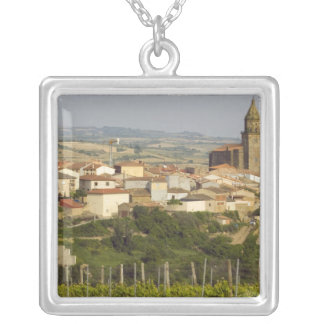 Rows of grape vines in the foreground frame the silver plated necklace