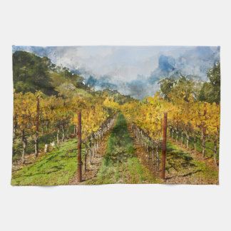 Rows of Grapevines in Napa Valley California Tea Towel
