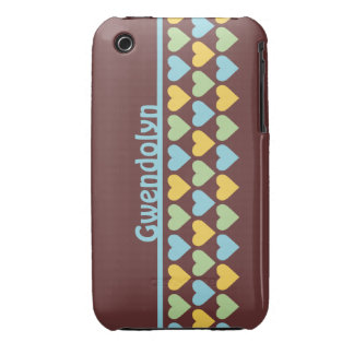 Rows of hearts pattern blue green personalize name Case-Mate iPhone 3 case