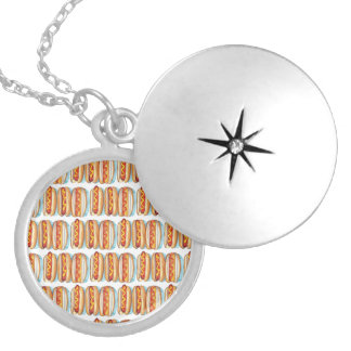 ROWS OF HOT DOGS Medium Silver Plated Round Locket