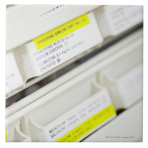 Rows of labeled medicine drawers ceramic tile