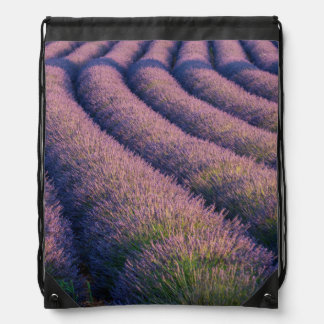 Rows of lavender in Provence Drawstring Bag