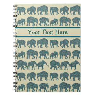 Rows of Paisley Elephants on Beige Spiral Notebook