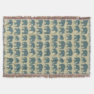 Rows of Paisley Elephants on Beige Throw Blanket