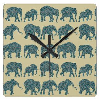Rows of Paisley Elephants on Beige Wall Clock