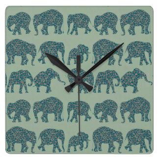 Rows of Paisley Elephants on Sage Green Wall Clock
