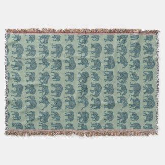 Rows of Paisley Elephants Sage Green Throw Blanket